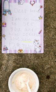 Students write to their upper school buddies.