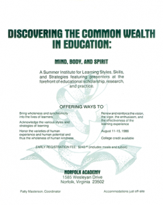 The First Common Wealth Conference 1986